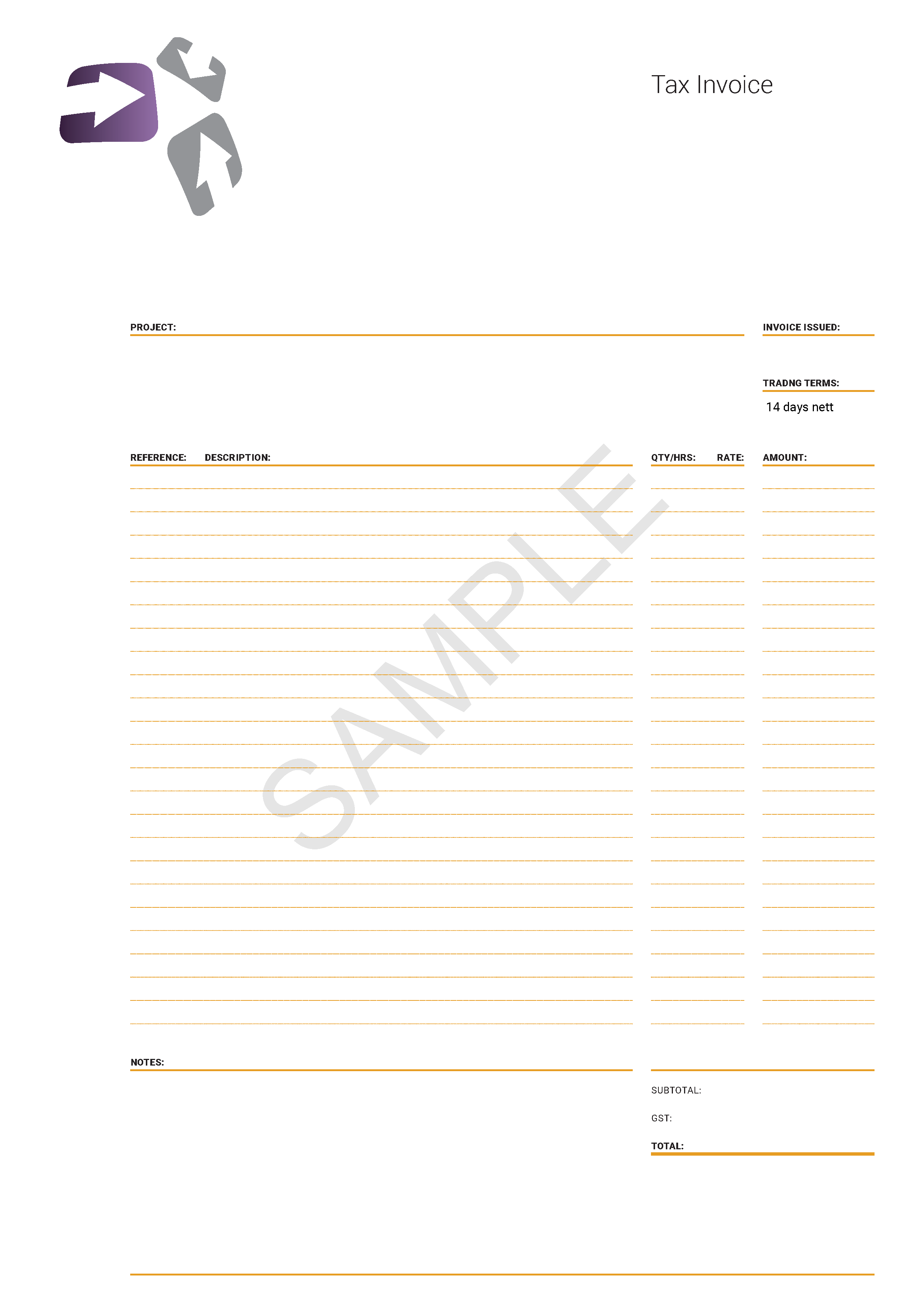 Example of fillable PDF digital form